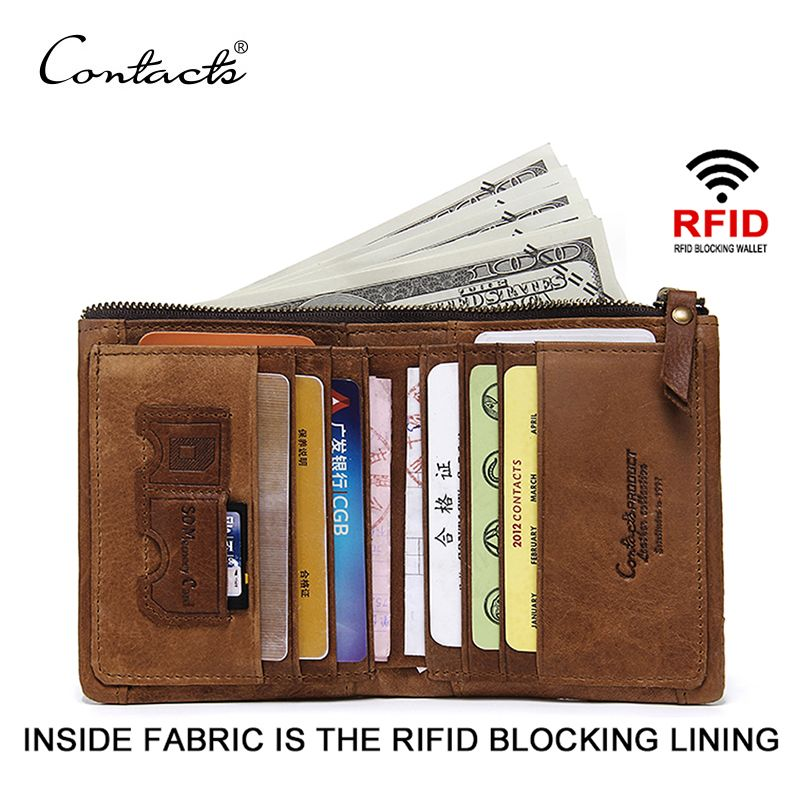 CONTACT'S RFID Blocking Bifold Slim Genuine Leather <font><b>Thin</b></font> Wallets for Men Purse ID/Credit Card Holder Fashion New Short Wallet