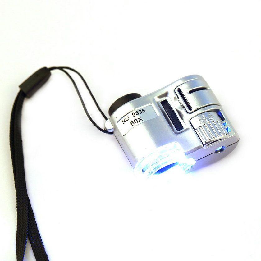 Professionelle Mini Objektiv 60X Tasche Lupe Mikroskop Mit LED-Licht Schmuck Juwelier Lupe Währung Dectector