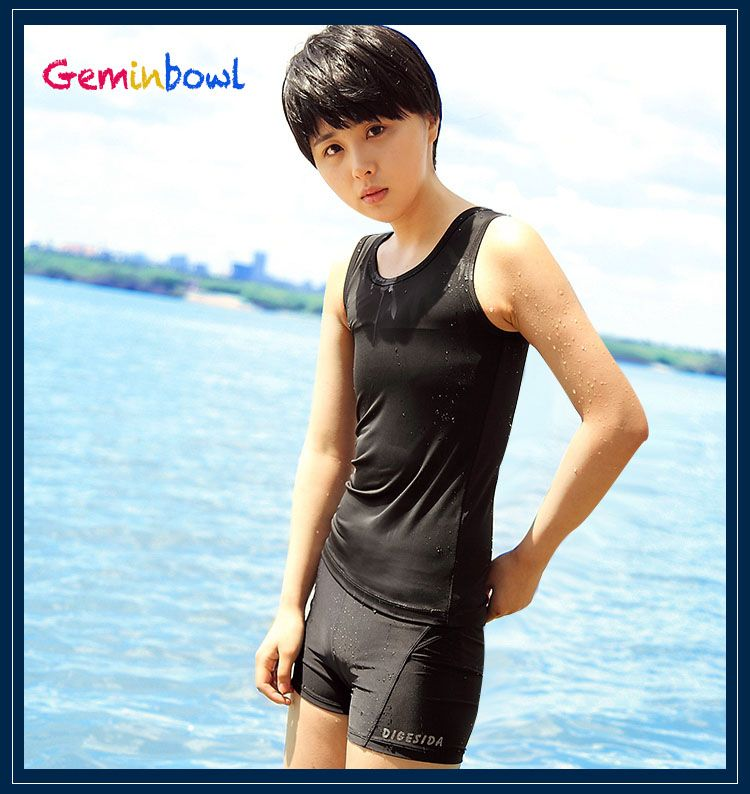 Geminbowl Swimsuit Slim Tomboy Les swimwear with Chest Binder Flat trunks girl lesbian Corset Breathable Undershirt Vest women