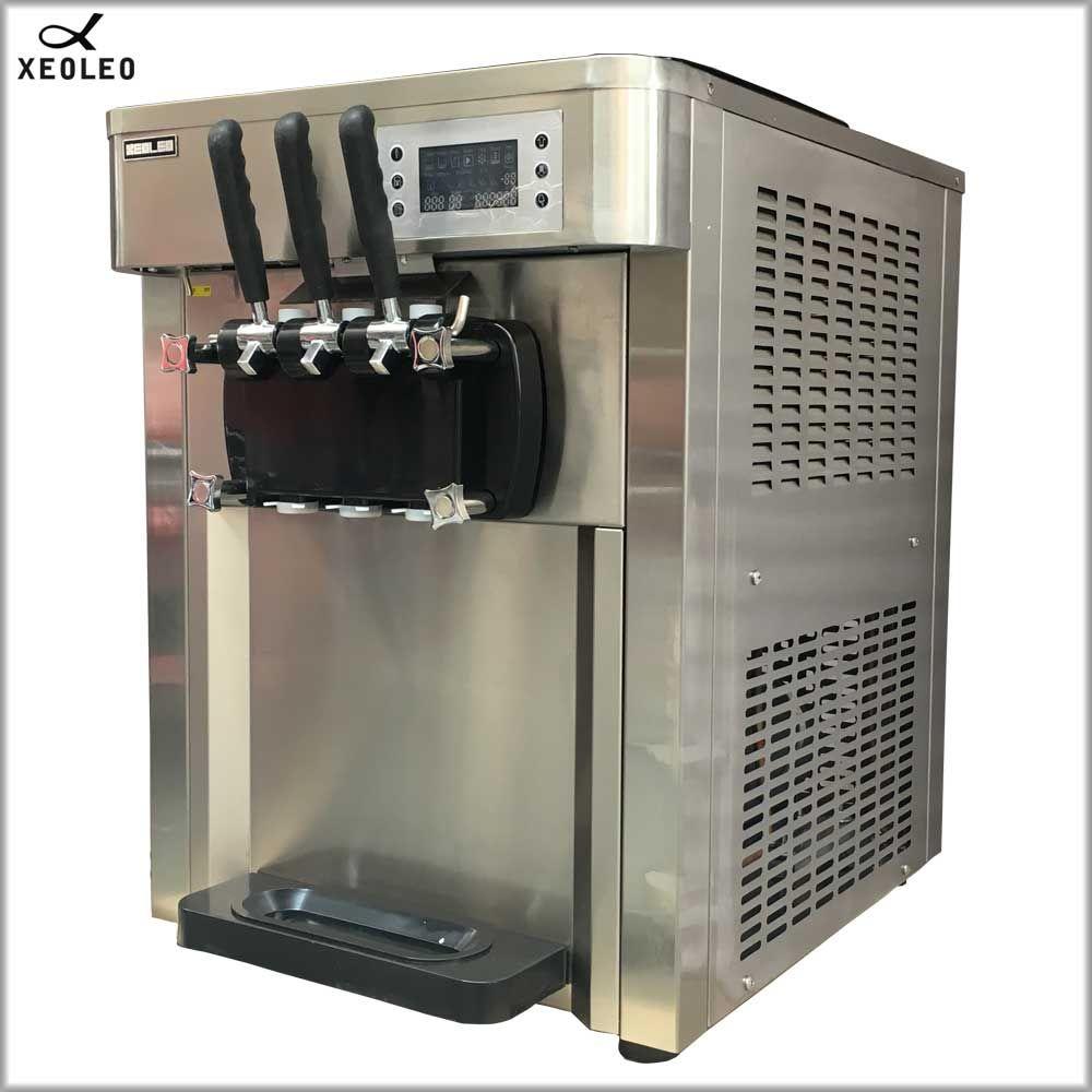 XEOLEO Softeis maschine Automatische eismaschine 2500W edelstahl Joghurt eis 3 Aromen 30L/ H luftkühlung