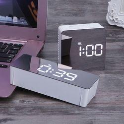 Цифровой светодио дный светодиодный дисплей настольный цифровой настольный часы зеркальные часы 12 H/24 H будильник и повтор функциональный т...