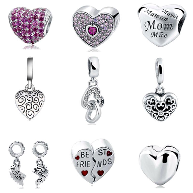 Fit Authentique Pandora Charms Bracelet Argent 925 En Forme de Coeur D'origine Charme Perles Sterling Charmes Argent Mère Bijoux Berloque