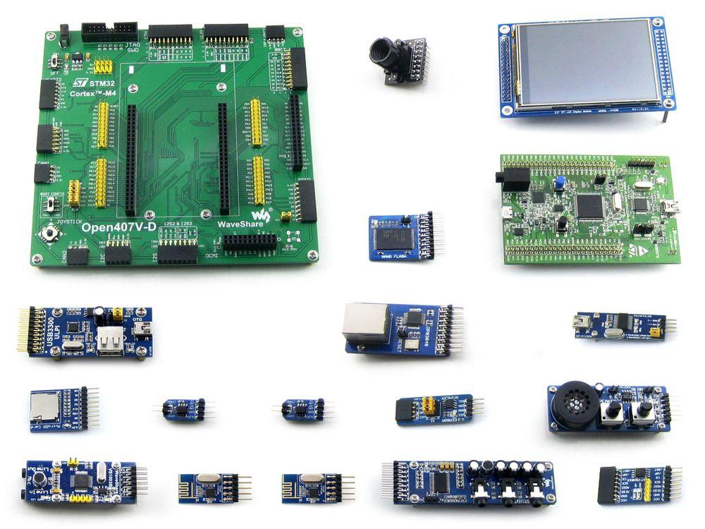 Paquet de Open407V-D B = STM 32 Board, ST Original STM32F4DISCOVERY/STM32F407G-DISC1, STM32F407VGT6 + 3.2 'TFT 320x240 tactile LCD + 15 ACC