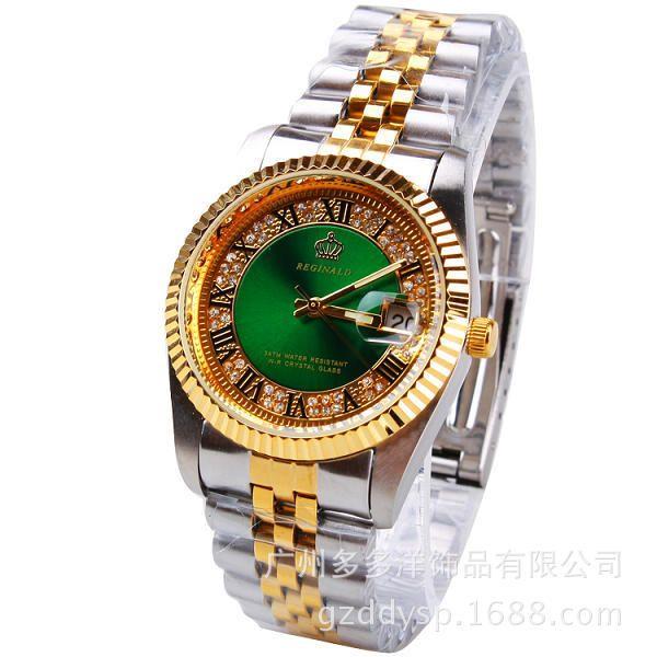2016 femme homme Couple marque de luxe Hk couronne quartz pour mode décontractée calendrier montres en acier doré horloge Reloj Mujer Relogio Feminino