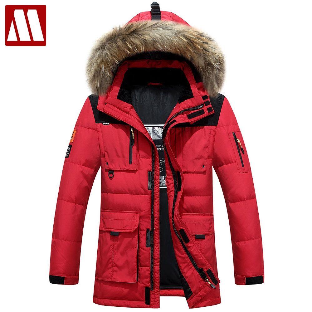 Neue Marke 2018 Winter Russland hochwertige dicke warme mantel männer freizeit unten jacke fell kapuze mantel minus 40 grad kalt mantel