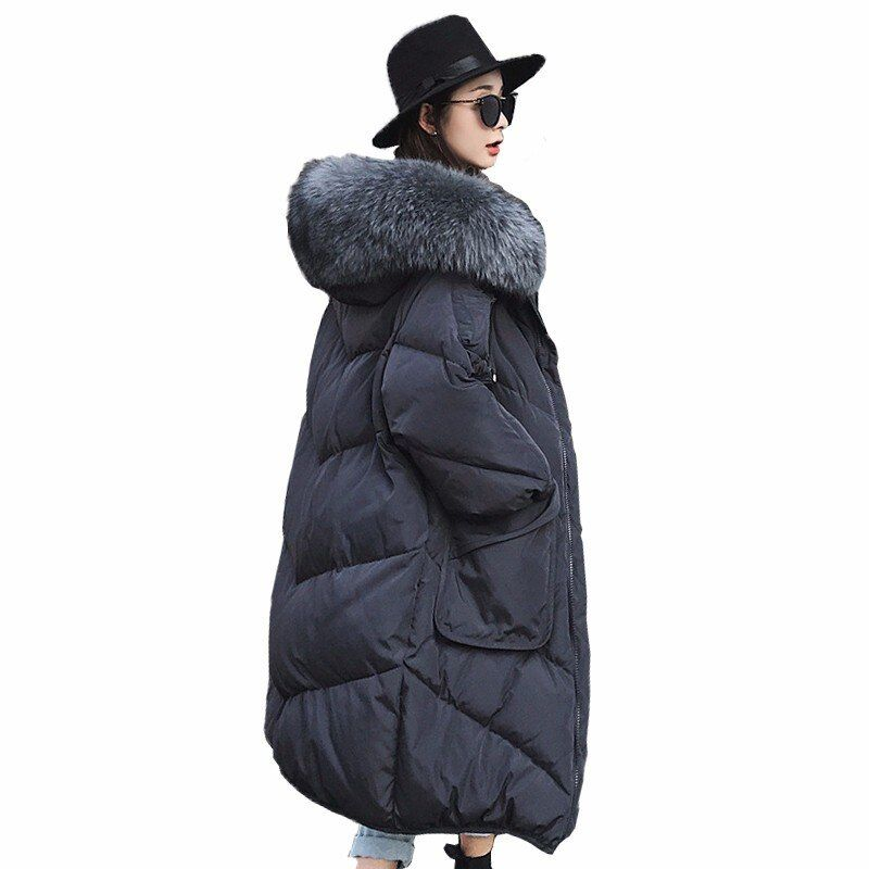 2018 Extra Large Raccoon Fur White Duck Down Coats Women's Thicken Long Down Jackets Casual Loose Parkas Snow Outerwears