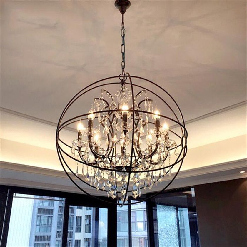 Vintage LED Crystal Chandelier Hanging Light Pendant Lamp for American Industrial Retro Luminaire Suspension E14 Socket Lustres