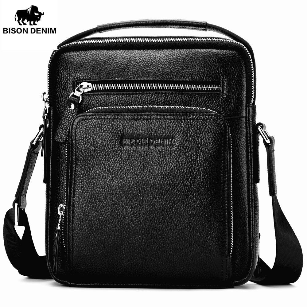 BISON DENIM Genuine Leather Men's Bag Business Shoulder Crossbody Bag Christmas Gift designer handbags high quality N2333-1&2