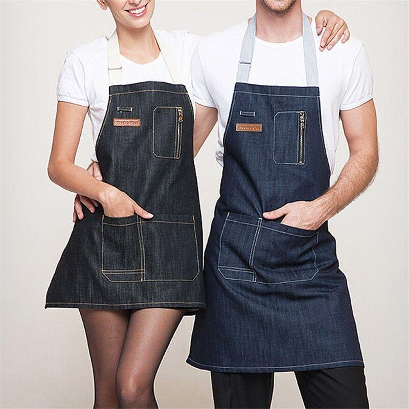 Новая мода обрастания Кухня приготовления джинсовый фартук для мужчин и женщин Ресторан работа фартук сарафаны tablier унисекс для взрослых ф...