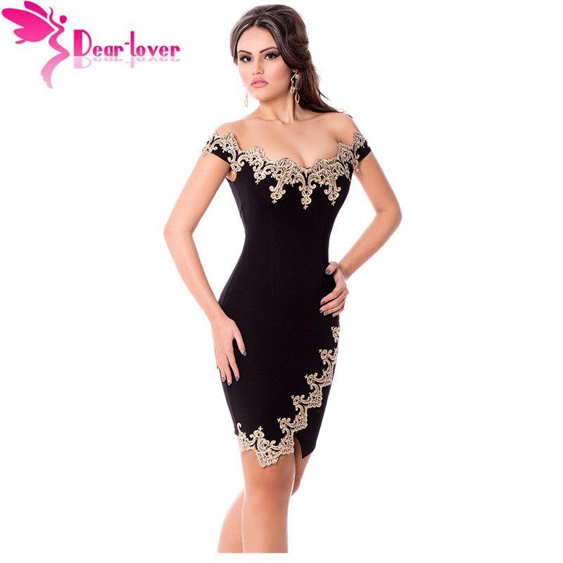 Dear Lover Roupas feminina Sexy Party Халаты золото Кружево Аппликация Черный с открытыми плечами Мини-Платье Vestidos De Festa Elegantes lc22715