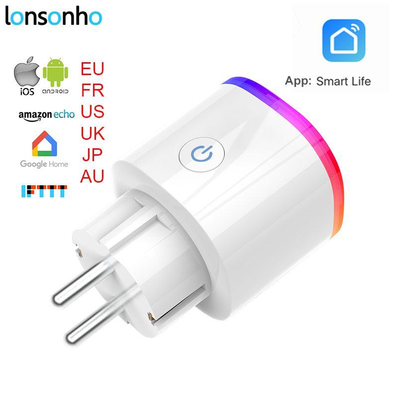 Lonsonho Smart Plug Wifi Smart Socket Power Monitor EU France US AU UK Korea Plug Outlet Works With Google Home Mini Alexa IFTTT