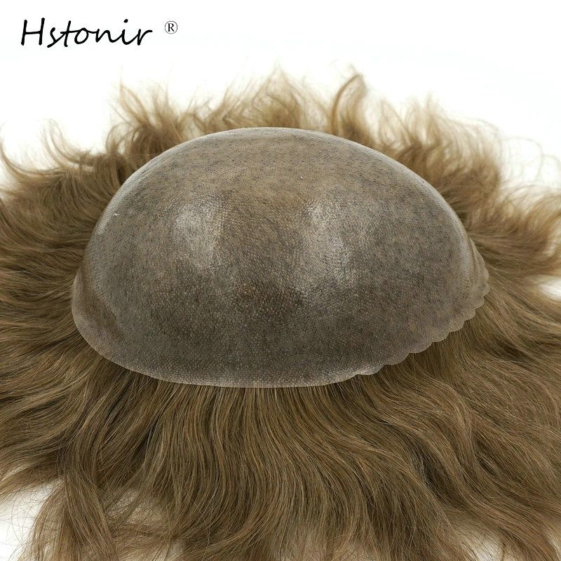 Hstonir Remy Hair Men's Wig Toupee for Men Full PU Base Mens Toupee Hair Replacement System H080