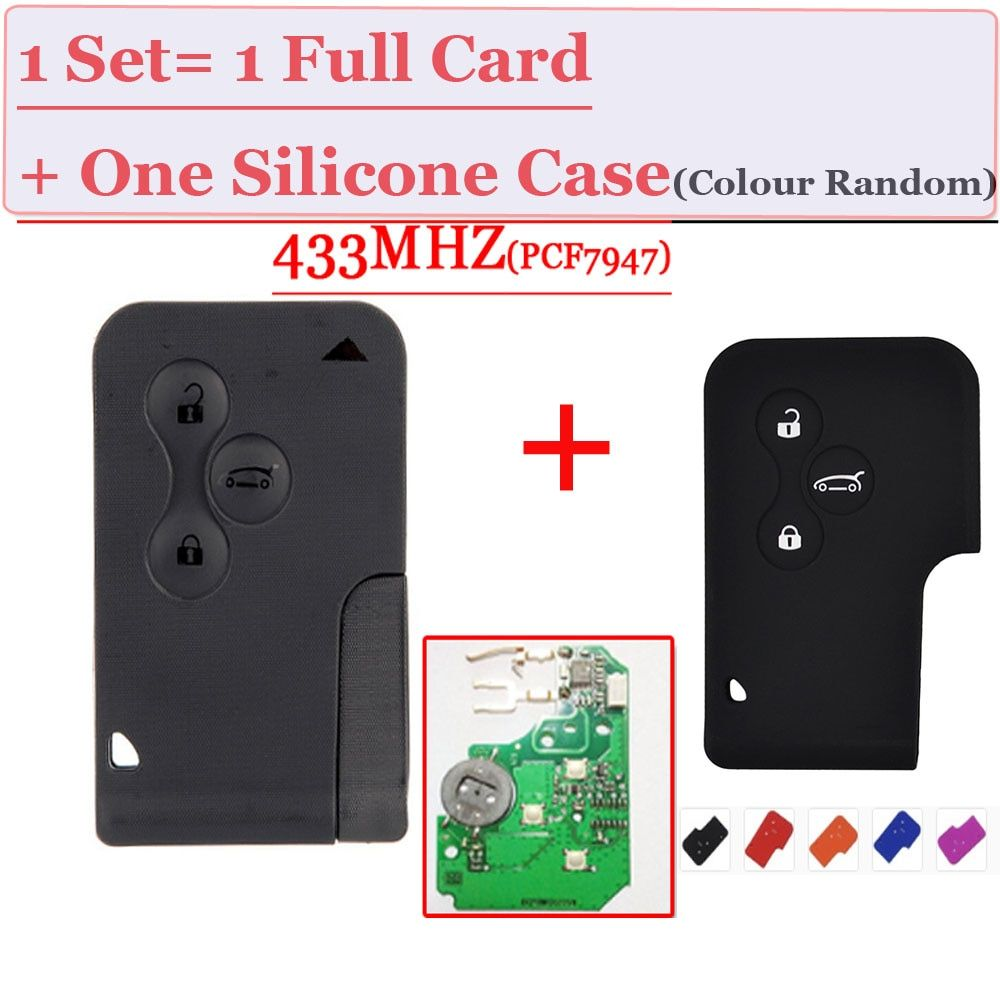 Excellent Quality replacement remote 3 Button Smart Card <font><b>pcf7947</b></font> chip 433mhz for renault megane card With 1 free Silicone Case