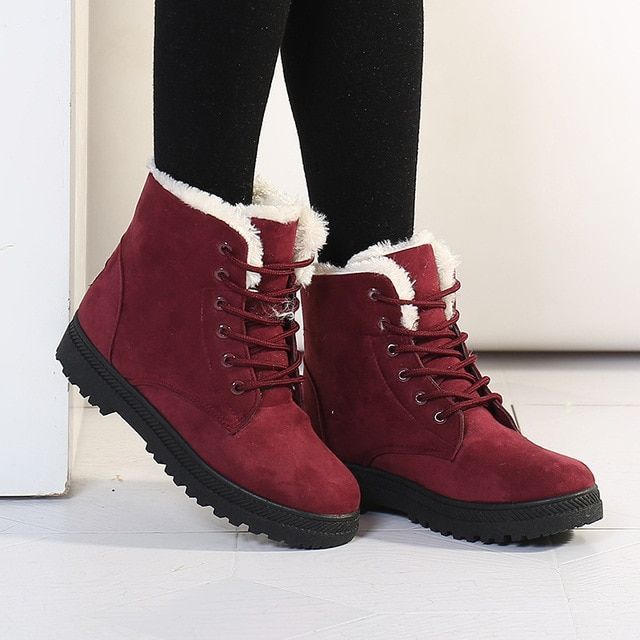 Fashion warm snow boots 2017 heels winter boots new arrival women ankle boots women shoes