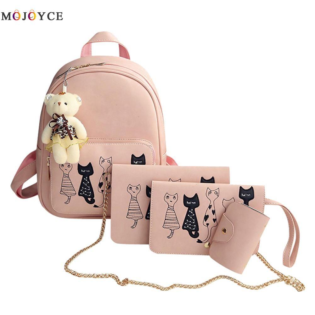 4Pcs/Set Small Backpacks female School Bags For Teenage <font><b>Girls</b></font> Black Pink PU Leather Women Backpack Shoulder Bag Purse Mochila
