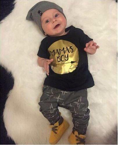 2019 été 2 pièces bébé garçon vêtements ensembles nouveau-né bambin infantile t-shirt style décontracté Top + Long pantalon tenues ensemble or Mamas garçon imprimer