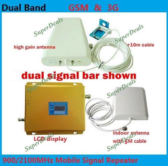 FULL SET LCD BOOSTER! High gain Dual band 2G, 3G signal booster KIT GSM 900 3G 2100 SIGNAL repeater verstärker doppel signal bar