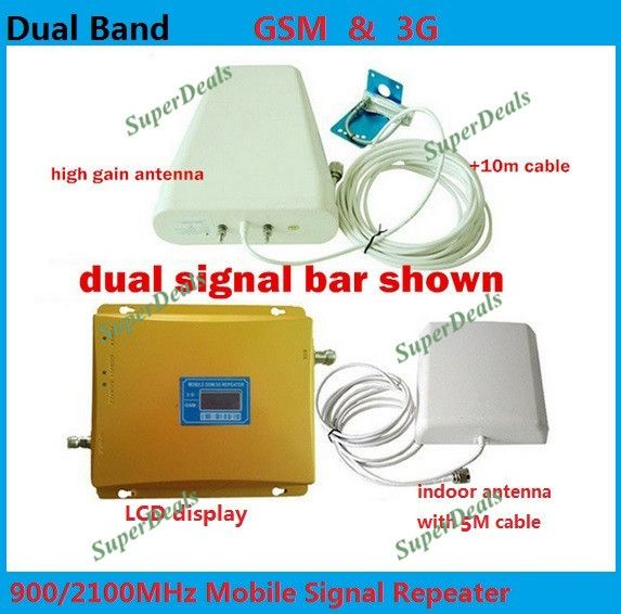 FULL SET LCD BOOSTER ! High gain Dual band 2G,3G signal booster KIT GSM 900 3G 2100 SIGNAL repeater amplifier Double signal bar