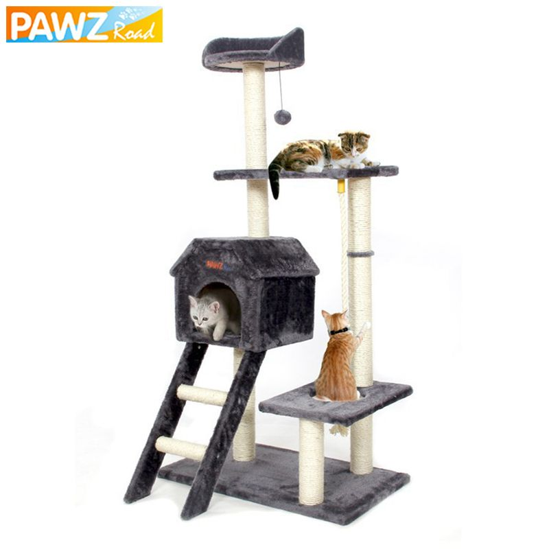 PAWZRoad Cat Jumping Toy with Ladder Scratching Wood Climbing Tree for Cat Climbing Frame Cat Furniture Scratching Post #0201