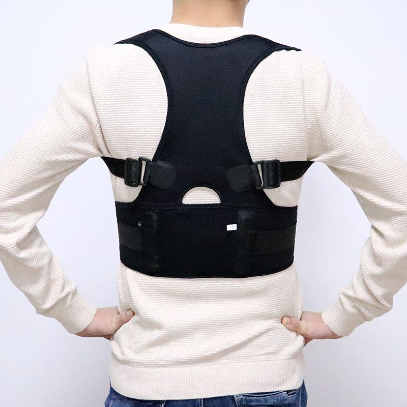 Homme femme réglable magnétique Posture correcteur Corset dos hommes noir orthèse dos épaule ceinture soutien lombaire droit S-4XL