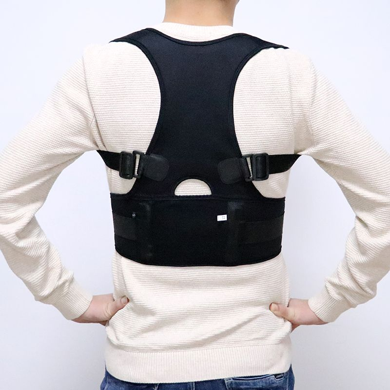 Male Female Adjustable Magnetic Posture Corrector Corset Back Men Black Brace Back Shoulder Belt Lumbar Support Straight S-4XL