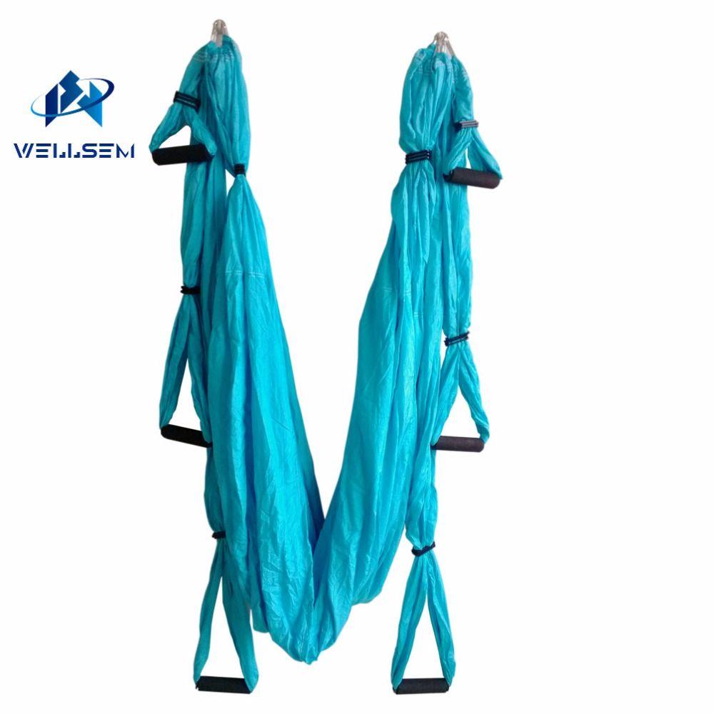 Home gym Aerial Yoga Hammock pilates band workout Yoga Inversion Swing Trapeze Anti-Gravity Belt Tool Fitness 6 handle 4 hooks