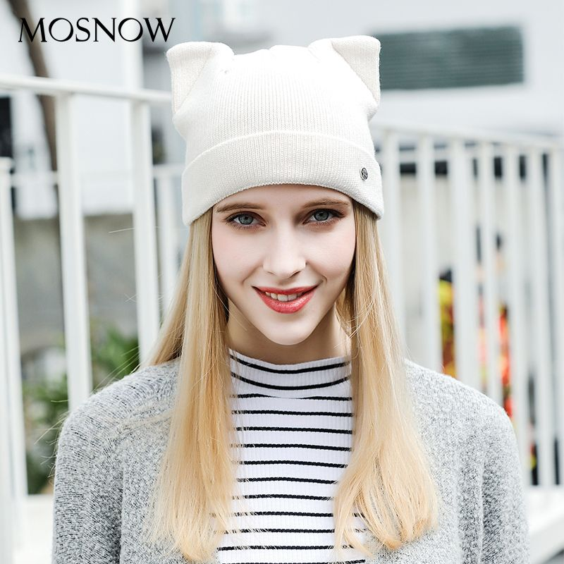 MOSNOW Hats For Women Cat Ears Wool Autumn 2017 Winter Brand New Fashion High Quality Knitted Warm Beanie Skullies Cap #MZ826