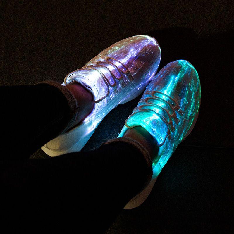 UncleJerry taille 25-47 nouveau été Led Fiber optique chaussures pour filles garçons hommes femmes USB Recharge brillant baskets homme allumer chaussures