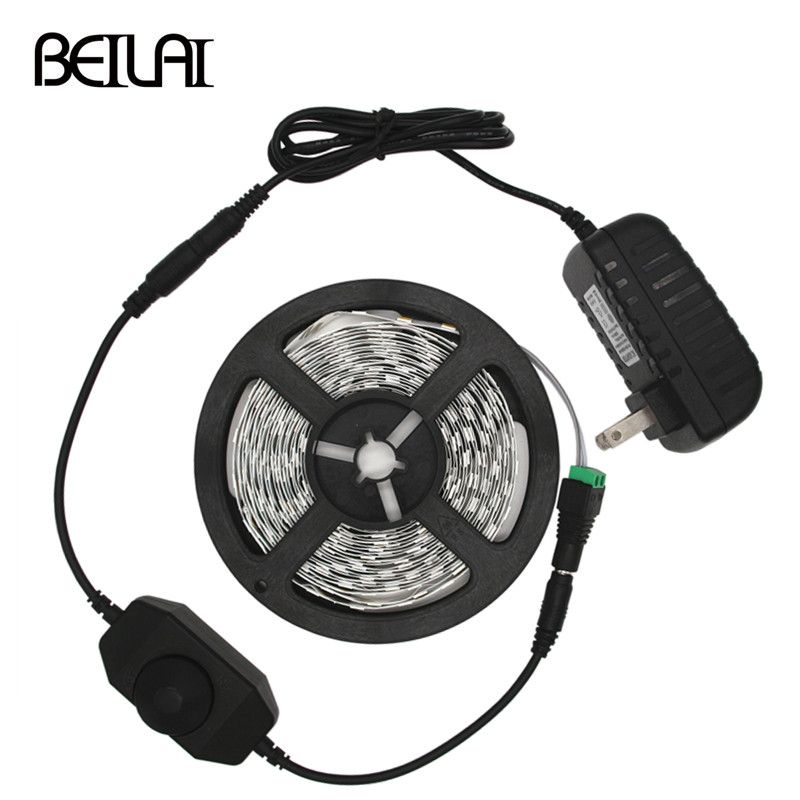 BEILAI 5630 Dimmable LED Strip 5M 300LED Not Waterproof DC 12V Fita LED Light Strips Flexible Neon Tape With 2A Power and Dimmer