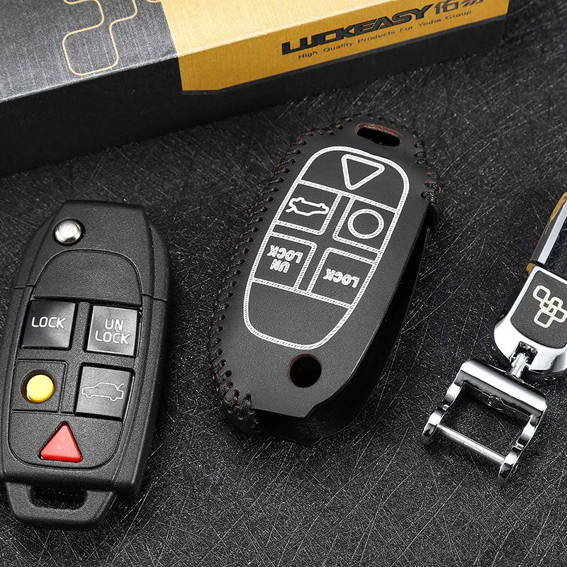luckeasy key case for volvo XC90 2004 2008 2010 2013 xc class 2014 shell key cover holder top layer leather key2s