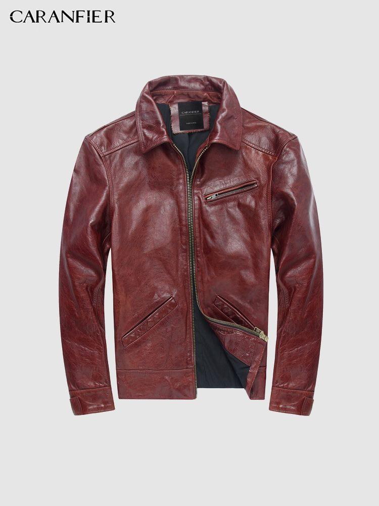 CARANFIER Herren Jacken Vintage Zipper Mäntel Echtem Rindsleder Punk Oberbekleidung Hohe Qualität Motorrad Männlichen Solide Mäntel