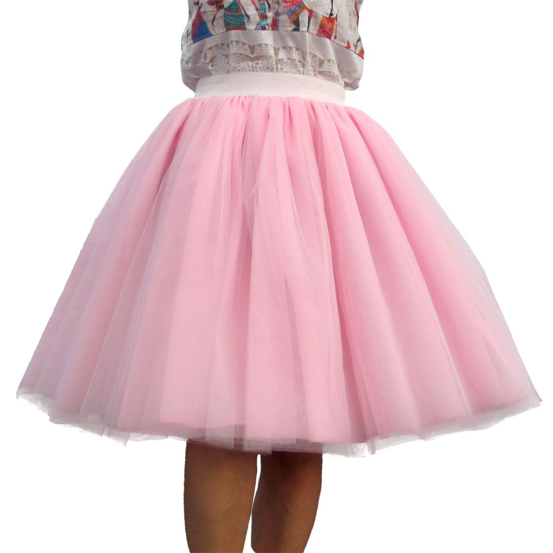 Femmes sur mesure jupe en Tulle 6 couches de blanc rose noir robe de bal taille haute falda Midi longueur au genou grande taille Tutu jupes