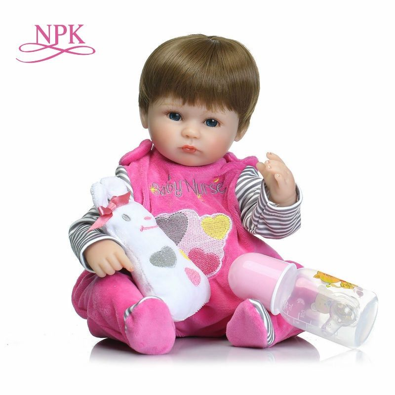 NPK 18inches 42CM silicone reborn baby doll Bonecas Baby Reborn realistic magnetic pacifier bebe doll reborn for girl Gifts toys