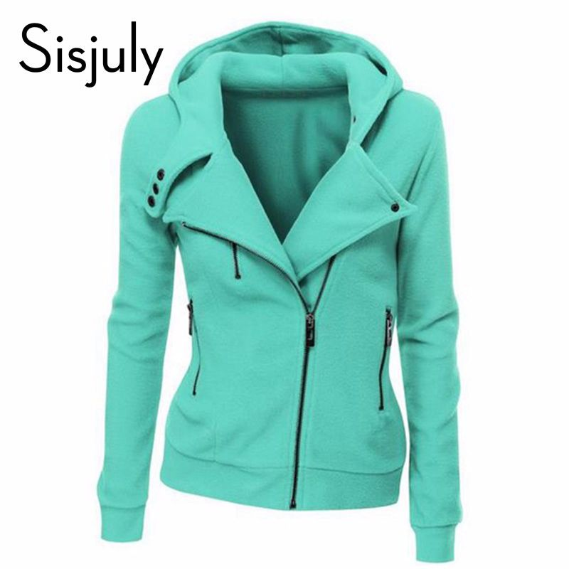 Sisjuly green jacket long sleeve fashion spring hoodies autumn zipper coats women