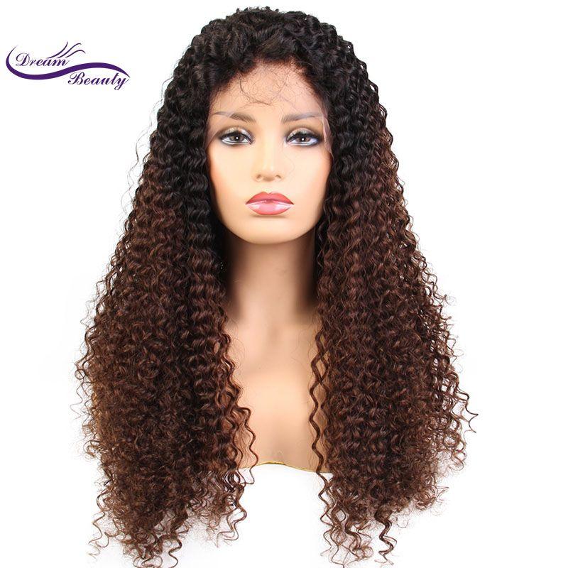 Träumen Schönheit Spitze-front ombre farbe Haar Perücken Pre Gezupft remy Brasilianisches Lockiges Menschliches Haar Frontal Perücke Gebleichte Knoten