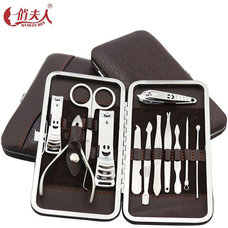 12 en un Ensemble de Coupe-ongles ongles outils de manucure Pédicure couteau Ciseaux Ongles Nipper Coupe Cuticule Toilettage Kit avec cas