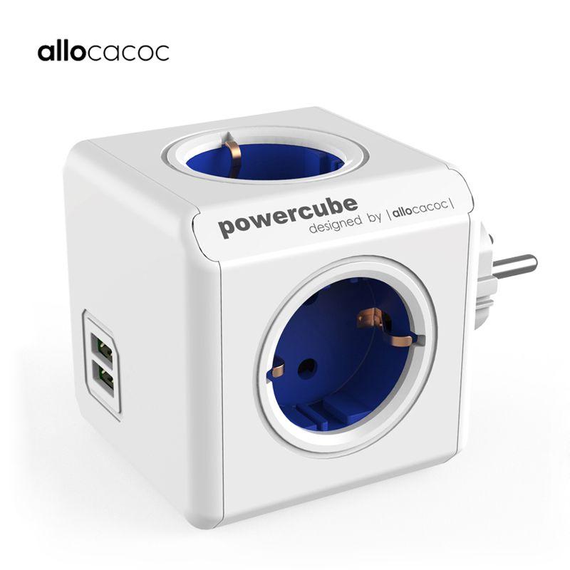 Allocacoc Bande de puissance de l'UE électrique prise intelligente multiprise USB Powercube 2 USB 5V 2.1A prises électriques prise d'extension à plusieurs adaptateur de voyage 3680W maison Charge