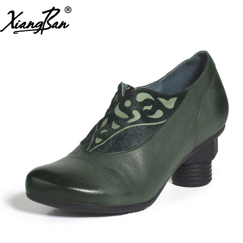 Bout pointu Femmes Vert Pompes Véritable Cuir Femmes Chaussures Élégant Milieu Talons Glissent Sur Xiangban