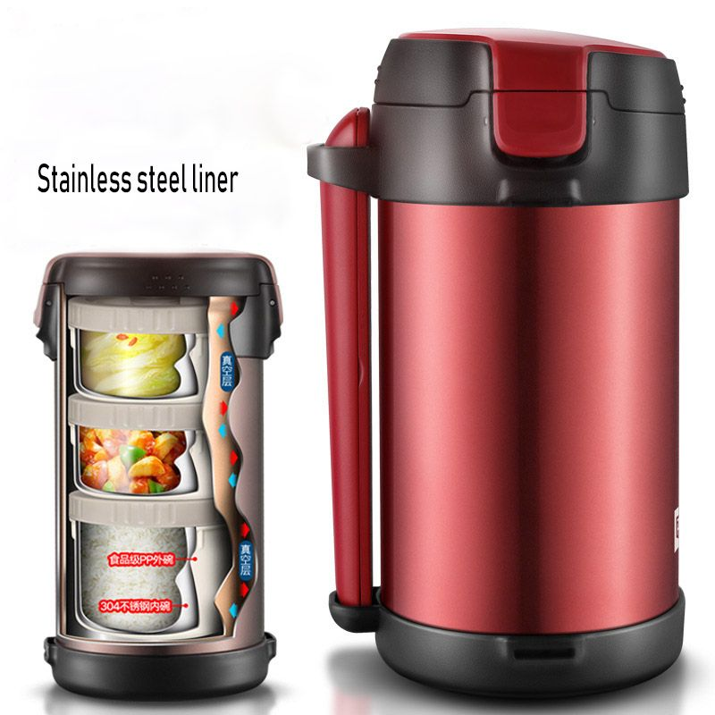 Stainless Steel Insulated Lunch Box 3 Layer Student Adult Bento Box Large Capacity Vacuum Insulation Barrel 12 Hours for Winter