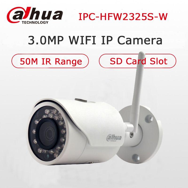 Dahua 3MP IP Camera DH-IPC-HFW2325S-W WIFI Camera 50M Night Vision IP67 Water proof Wireless SD Card Slot Network Bullet Camera