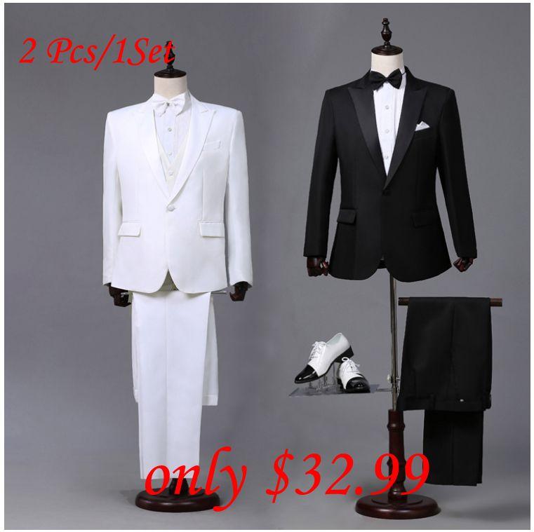 Custom made Hommes Noir Blanc Costumes Veste Pantalon Formelle Robe hommes Costume Set hommes costumes de mariage marié smokings pour hommes blazer