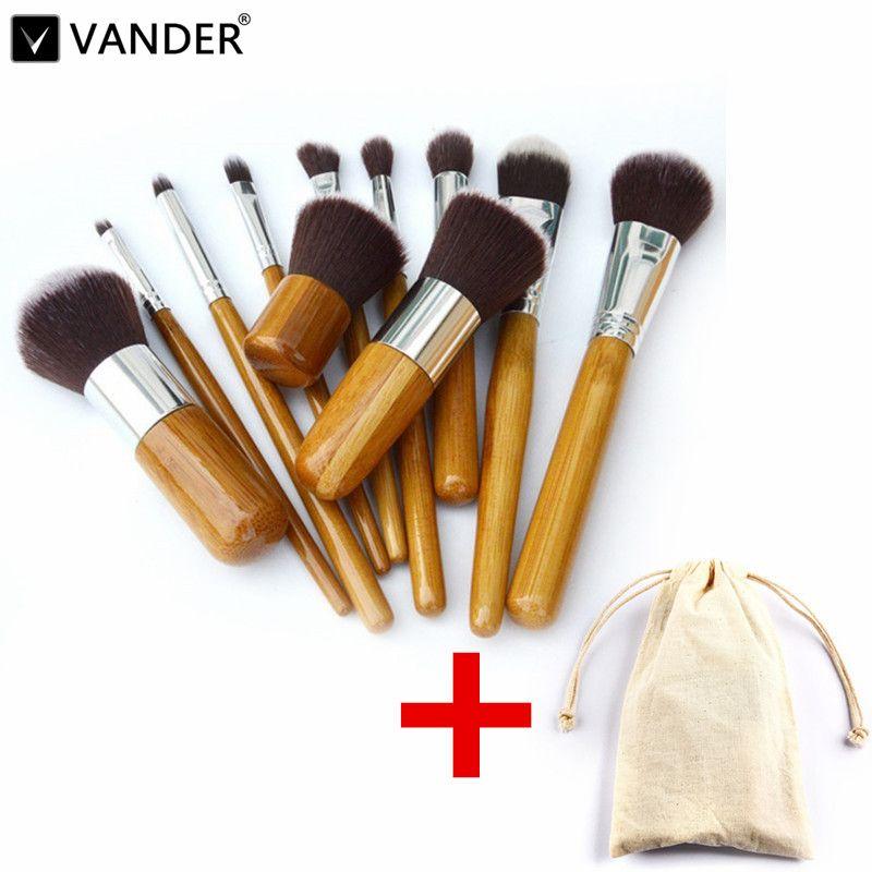 Vander Pro 11 Pcs Maquillage Brosses Cosmétiques Outils Bambou Poignée Fard À Paupières Cosmétique Maquillage Brush Set Blush Kit pincel maquiagem