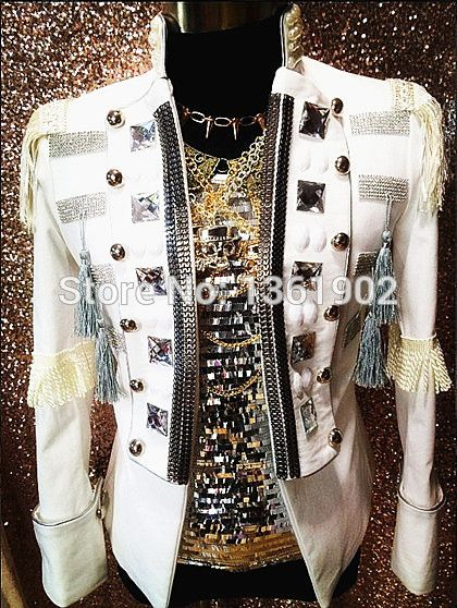 Plus Custom made Tuxedo white Crystal men ds dj male singer performance outerwear blazer costume show rhinestone jacket outfit