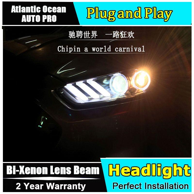 Auto Styling 2013-2016 für Ford Mondeo Fusion Scheinwerfer Mustang stil LED Scheinwerfer DRL Objektiv Doppel Strahl HID-Xenon- bi xenon objektiv