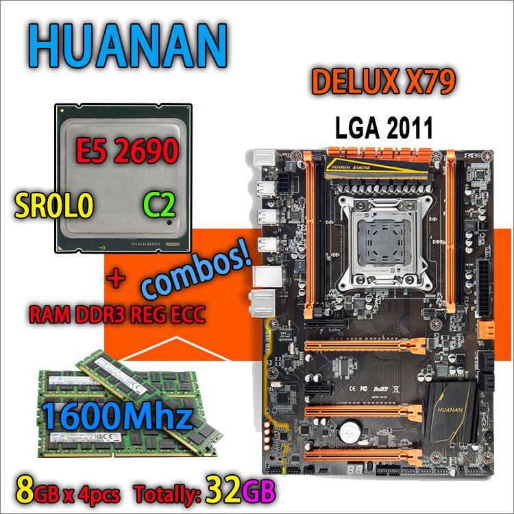 HUANAN golden Deluxe version X79 gaming motherboard LGA 2011 ATX combos E5 2690 C2 SR0L0 4 x 8G 1600MHz 32gb DDR3 RECC Memory