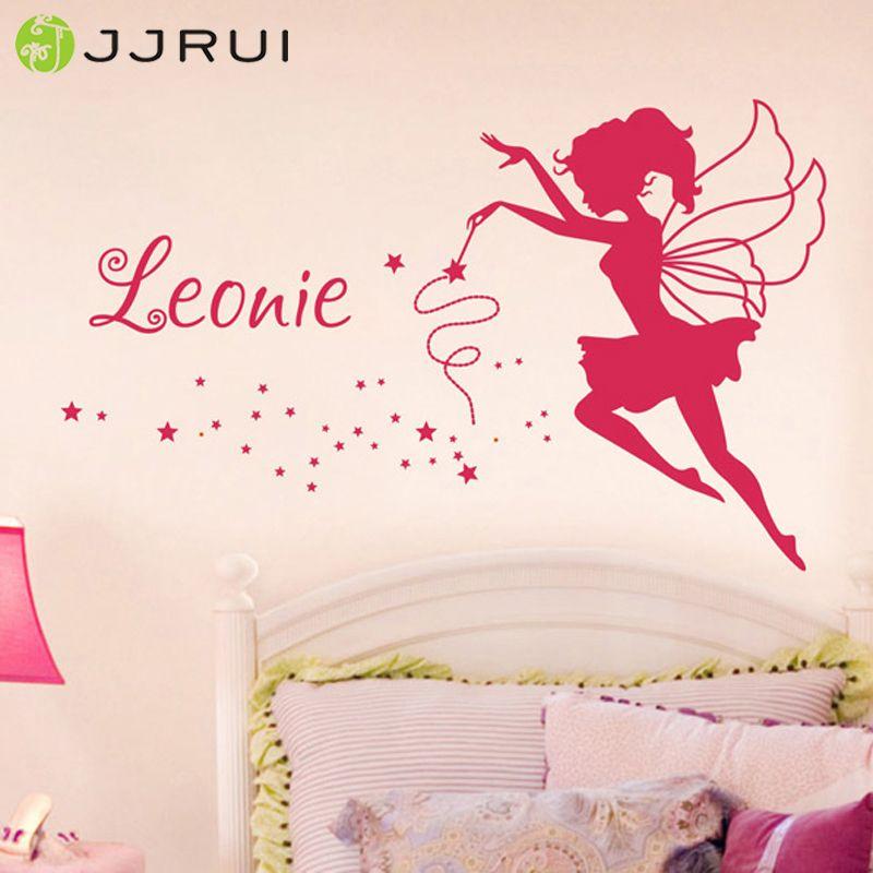 JJRUI Personnalisé Fée Vinyle Art Mural Autocollant Nom Filles Enfants Enfants Chambre Decal 21 COULEUR 2 taille