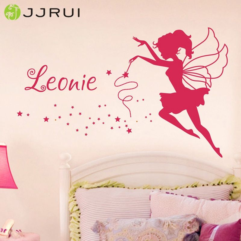 JJRUI personnalisé fée vinyle mur Art autocollant tout nom filles enfants chambre décalque 21 couleur 2 taille