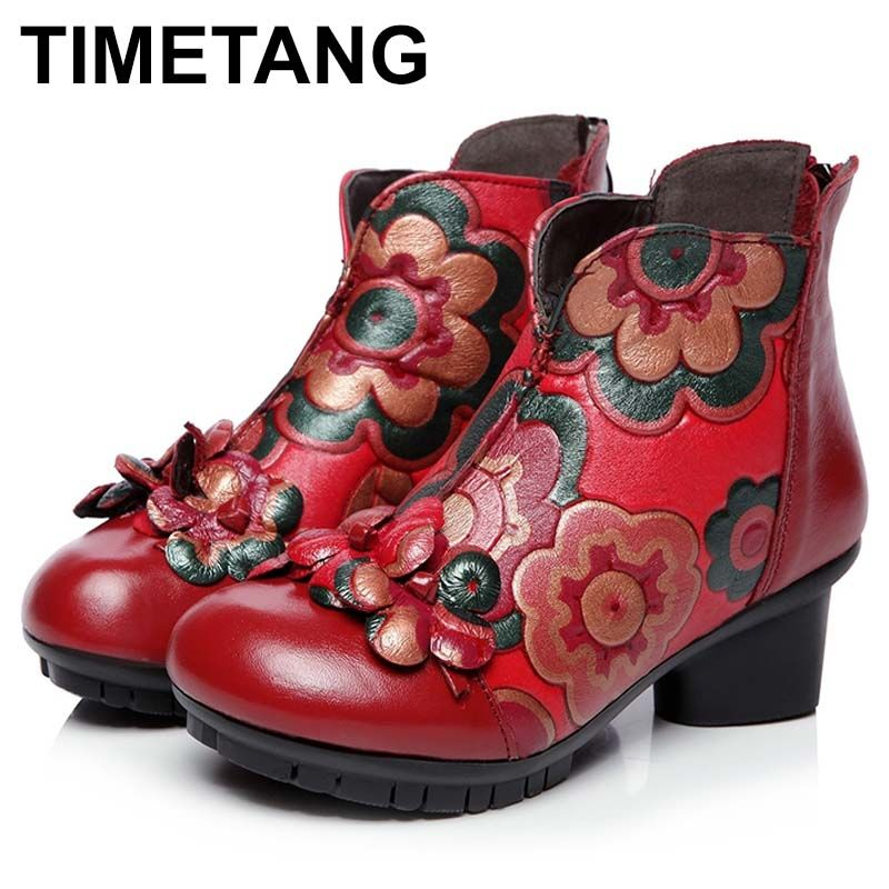 TIMETANG 2018 autumn and winter women National trend genuine leather boots handmade vintage motorcycle ankle boots flower C337