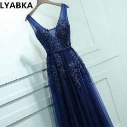 2019 vestidos de baile Stock Navy Blue A-line Prom dresses vestido de noite V-neck elegant cheap long appliques prom dress