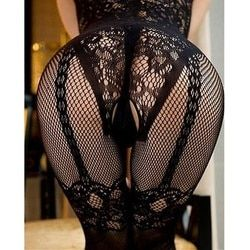 1 X Black Women Sexy Pantyhose Open Crotch Nylon Stockings Crotchless Fishnet Sheer Body Dress Lingerie Seam Summer